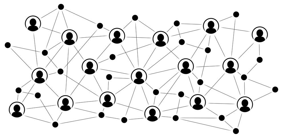 Netzwerk von Personen in schwarz-weiß